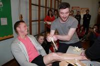 Teachers' wax legs for charity